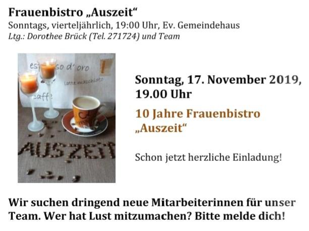 """Frauenbistro """"Auszeit"""" @ Ev. Gemeindehaus"""
